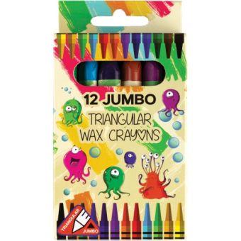 Мелки восковые Jumbo 12 цв., треугольные, в картонной упаковке с европодвесом