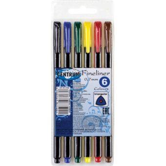 Набор ручек капилярных Liner 6 цветов (черный, синий, зеленый, красный, желтый, коричневый), 0,7 мм, в упаковке ПВХ с европодвесом