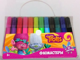 """Фломастеры """"Тролли"""", 12 цветов, в сумочке, на водной основе."""