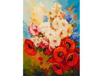 Живопись на холсте 30*40 см. Цветочная мозаика (122-AS)