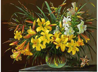 Живопись на холсте 30*40 см. Золотая лилия (133-AS)