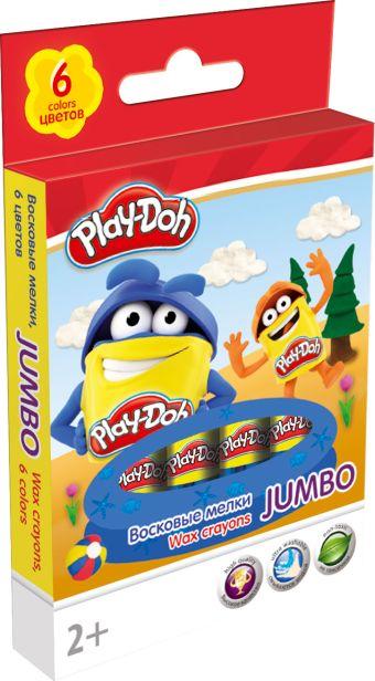 Восковые мелки. JUMBO 6 цв/ 6шт. Play Doh. Размер: 13,7 х 8,5 х 1,5 см.