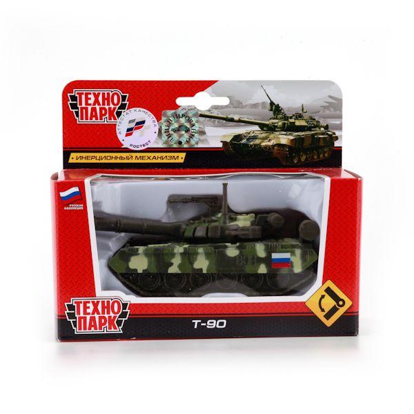 """ТАНК T-90 """"ТЕХНОПАРК"""" МЕТАЛЛ. ИНЕРЦ. 12СМ В РУСС. КОР. в кор.2*24шт"""