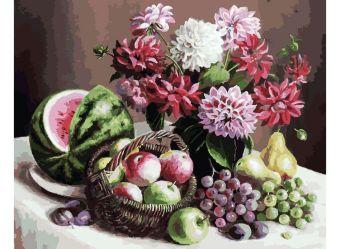 Живопись на холсте 40*50 см. Георгины и фрукты (172-AB)