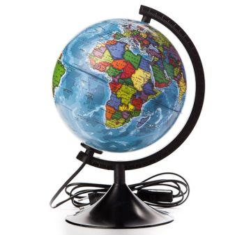 Глобус Земли политический с подсветкой. Диаметр 210мм