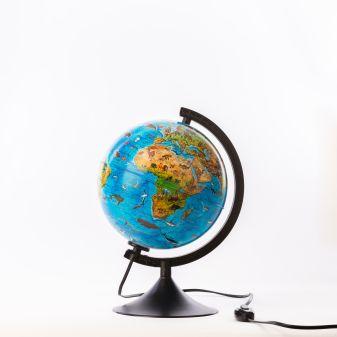 Глобус Зоогеографический (Детский) с подсветкой. Диаметр 210мм