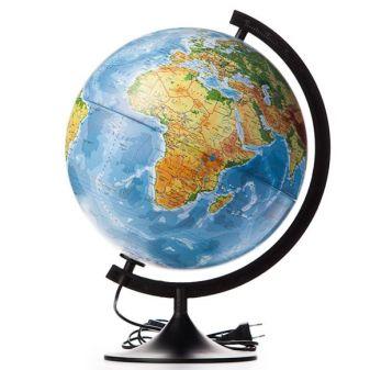 Глобус Земли физико-политический с подсветкой. Диаметр 320мм