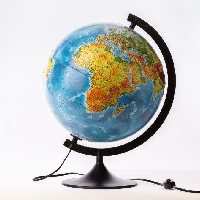 Глобус Земли физико-политический с подсветкой рельефный. Диаметр 320мм