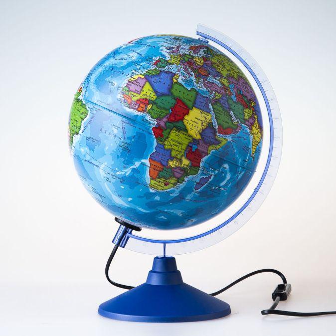 Глобус Земли политический с подсветкой. Диаметр 250мм