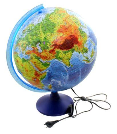 Глобус Земли физико-политический с подсветкой. Диаметр 320мм - фото 1