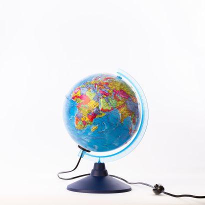 Глобус Земли политический рельефный с подсветкой. Диаметр 210мм - фото 1
