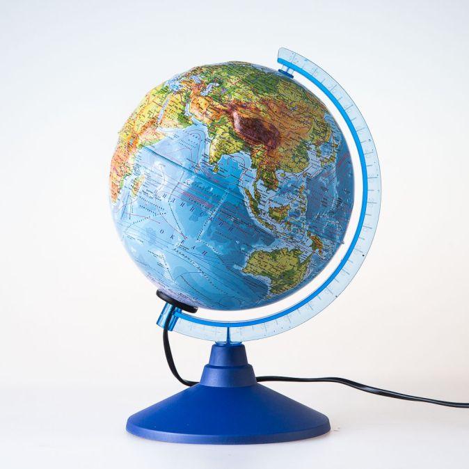 Глобус Земли физический рельефный с подсветкой. Диаметр 250мм