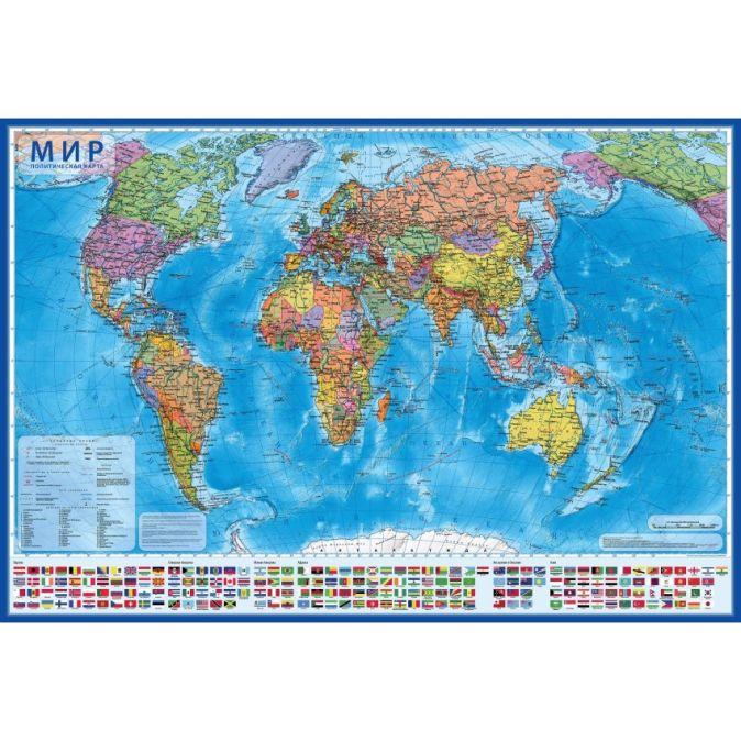Мир Политический 1:55М (капсульная ламинация)59х40