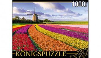 Königspuzzle. ПАЗЛЫ 1000 элементов. ГИК1000-6548 ТЮЛЬПАНОВОЕ ПОЛЕ И МЕЛЬНИЦА