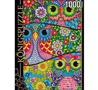 Königspuzzle. ПАЗЛЫ 1000 элементов. АЛК1000-6528 ЦВЕТНЫЕ СОВЫ (в)