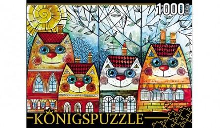 Königspuzzle. ПАЗЛЫ 1000 элементов. АЛК1000-6530 ОКСАНА ЗАИКА. КОТЫ-ДОМИКИ
