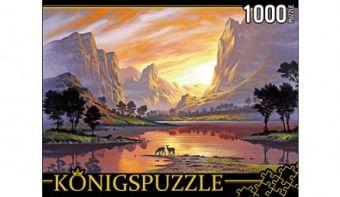 Königspuzzle. ПАЗЛЫ 1000 элементов. АЛК1000-6462 ЗАКАТ СРЕДИ СКАЛ