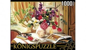 Königspuzzle. ПАЗЛЫ 1000 элементов. АЛК1000-6504 ЦВЕТОЧНЫЙ НАТЮРМОРТ