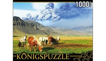 Königspuzzle. ПАЗЛЫ 1000 элементов. КБК1000-6463 ЛОШАДИ И ВУЛКАН