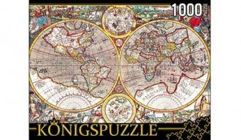 Königspuzzle. ПАЗЛЫ 1000 элементов. КБК1000-6511 ДРЕВНЯЯ КАРТА МИРА
