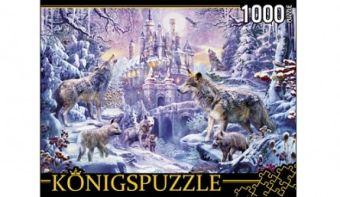 Königspuzzle. ПАЗЛЫ 1000 элементов. МГК1000-6473 ВОЛКИ И ЗИМНИЙ ЗАМОК