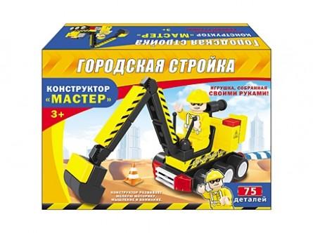Конструктор. ГОРОДСКАЯ СТРОЙКА (Арт. К-6773) коробка 18,5*13*4,5 см (75 деталей)