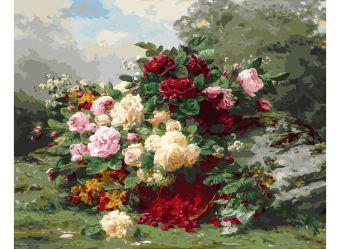Живопись на холсте 40*50 см. Розы и ягодная корзина (253-AB)