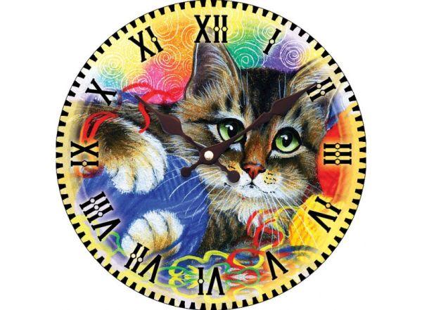"""Часы. Часы настенные """"Котик с клубочками"""", диаметр 34 см (014-CL )"""