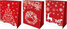 Пакет бумажный подарочный, эффект: глянцевая поверхность, микс из 3-х дизайнов, Размер 41 х 55 х 15,5 см, Упак. 12/72/144 шт.