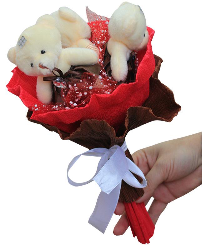 Букет из мягких игрушек - набор для творчества. Шоколадные конфеты букет (3MC) букет из игрушек toy bouquet медвежата зефирки цвет красный 7 игрушек