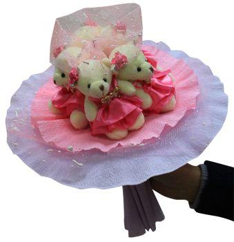 Букет из мягких игрушек - набор для творчества. Розовые фантазии букет (5MP)