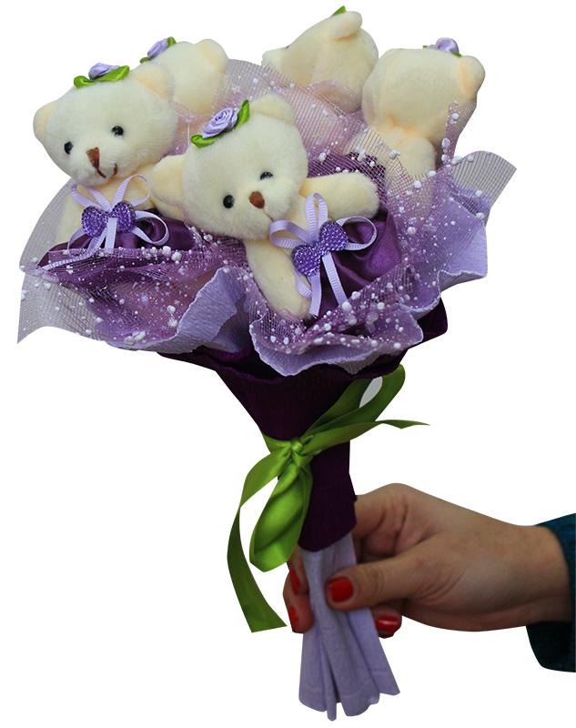 Букет из мягких игрушек - набор для творчества. Лиловое настроение букет (5MV) букет из игрушек toy bouquet медвежата зефирки цвет красный 7 игрушек
