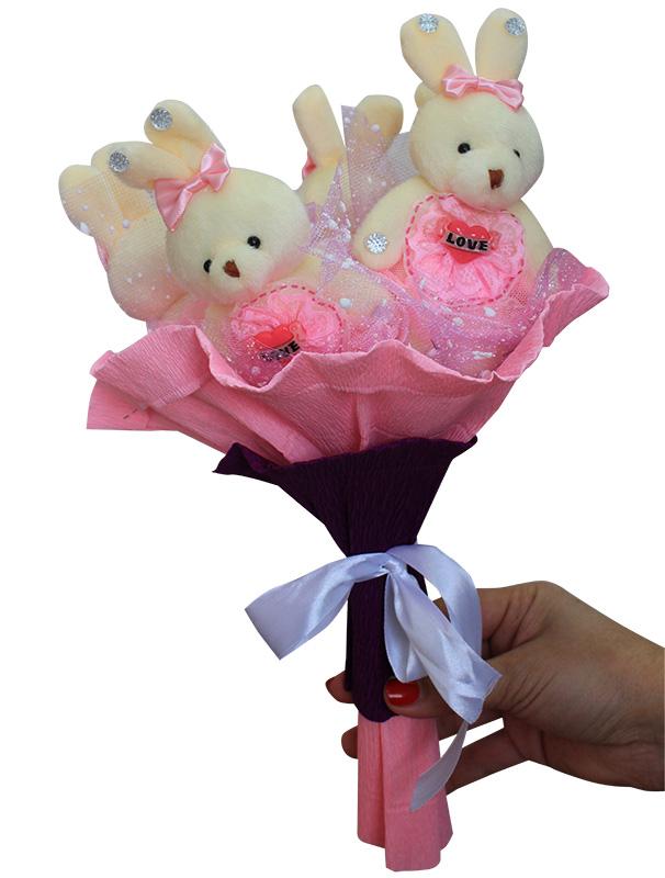 Букет из мягких игрушек - набор для творчества. Клубничка букет (5ZP) букет из игрушек toy bouquet медвежата зефирки цвет красный 7 игрушек