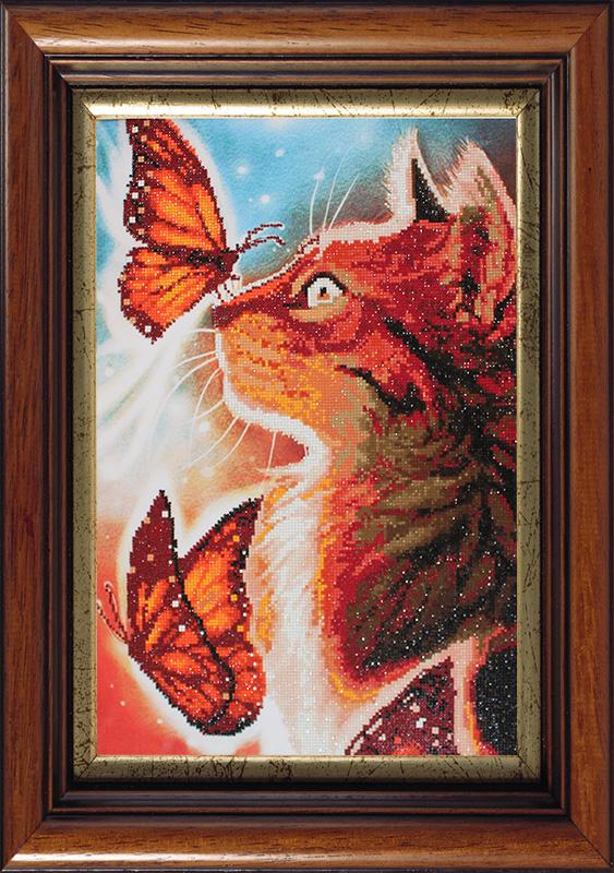 Мозаичные картины. Кошка с бабочками (10013)