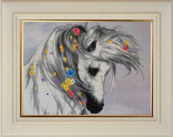 Мозаичные картины. Белая лошадка (10020)