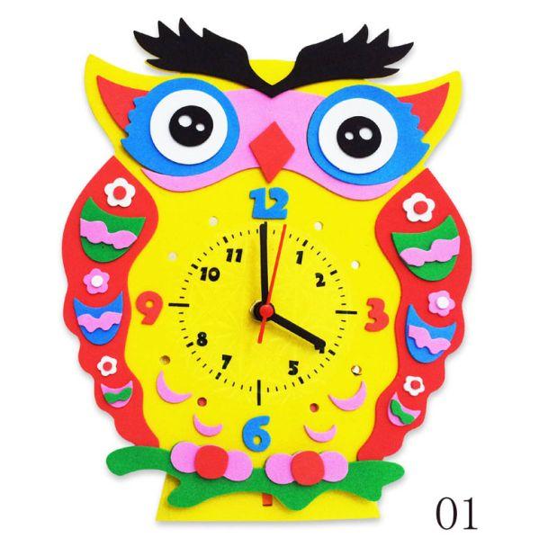 Часы детские. Сова часы - набор для творчества из Фоамирана (CL001)