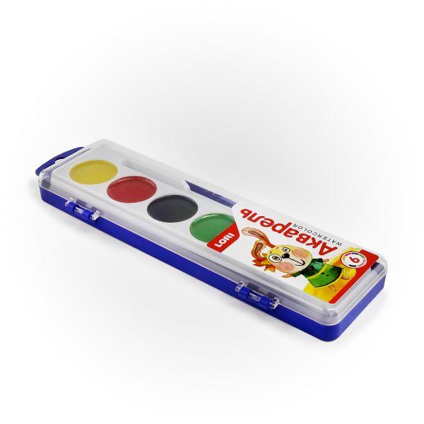 Акварельная краска в пластм уп (узкая) 6 цветов, б/к