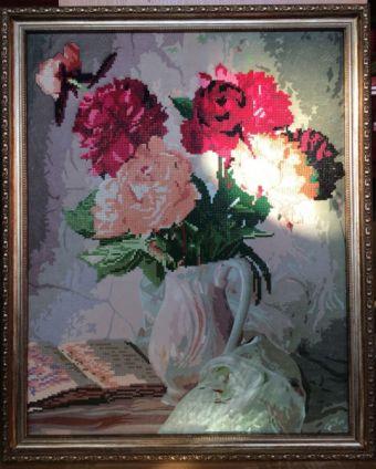 Мозаичные картины. Пионы в вазе - мозаичная картина (80003)
