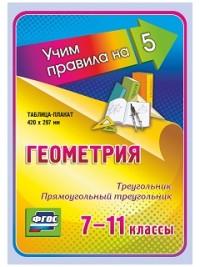 Геометрия. Треугольник. Прямоугольный треугольник. 7-11 классы: Таблица-плакат 420х297