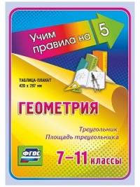 Геометрия. Треугольник. Площадь треугольника. 7-11 классы: Таблица-плакат 420х297