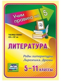 Литература. Роды литературы. Лироэпика. Драмы. 5-11 классы: Таблица-плакат 420х297