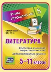 Литература. Средства языковой выразительности. Художественные приёмы. 5-11 классы: Таблица-плакат 420х297