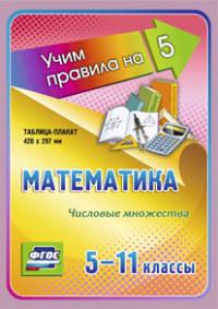 Математика. Числовые множества. 5-11 классы: Таблица-плакат 420х297