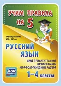 Русский язык. Имя прилагательное. Орфограммы. Морфологический разбор. 1-4 классы: Таблица-плакат 420х297 - фото 1