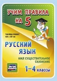 Русский язык. Имя существительное. Склонение. 1-4 классы: Таблица-плакат 420х297