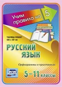 Русский язык. Орфограммы в приставках. 5-11 классы: Таблица-плакат 420х297