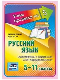 Русский язык. Орфограммы в суффиксах имён прилагательных. 5-11 классы: Таблица-плакат 420х297