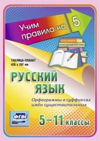 Русский язык. Орфограммы в суффиксах имён существительных. 5-11 классы: Таблица-плакат 420х297 - фото 1