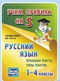 Русский язык. Признаки текста. Типы текстов. 1-4 классы.: Таблица-плакат 420х297