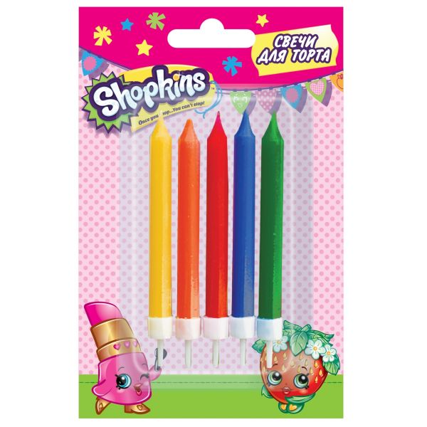Набор свечей с держат, 5шт*7см_Shopkins SHOPKINS
